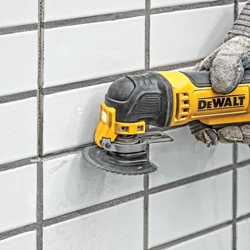 The oscillating multi-tool is an extremely durable and removes grout in seconds.