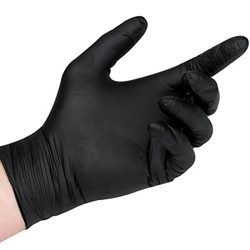 Nitrile gloves for grout sealing.
