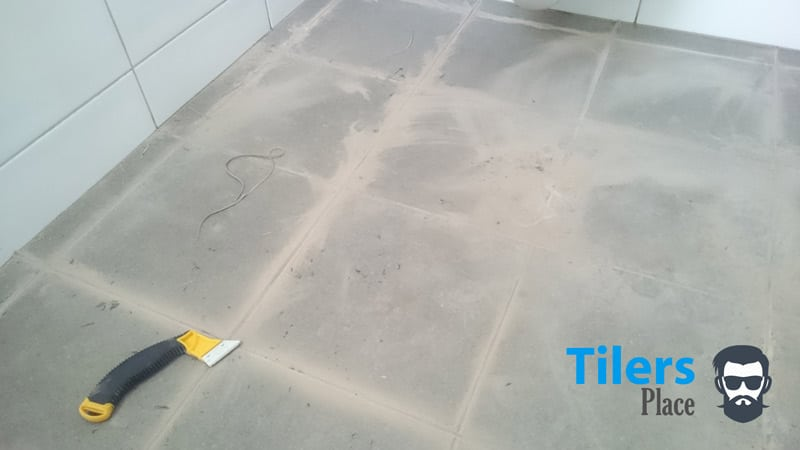 Example in how your surface should look after you have removed all the old grout.