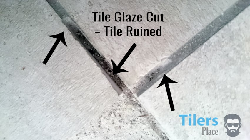 Damaged tiles from angle grinder