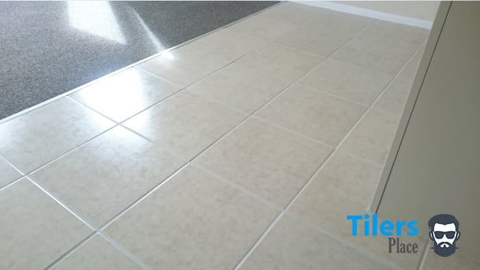 A beautiful tiled surface all repaired and ready for traffic.