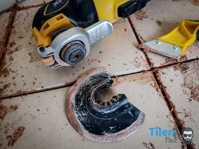 The oscillating multi-tool is extremely durable and removes grout in seconds.